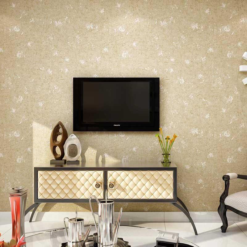طراحی پشت تلویزیون با کاغذ دیواری محو قهوه ای