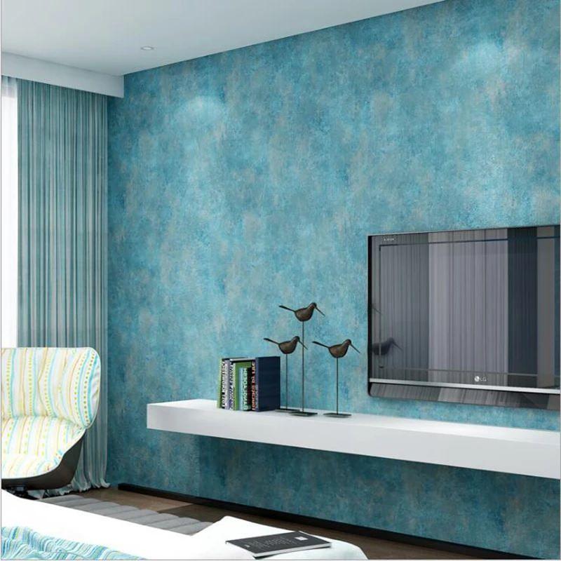 طراحی پشت تلویزیون با کاغذ دیواری مدرن پتینه آبی