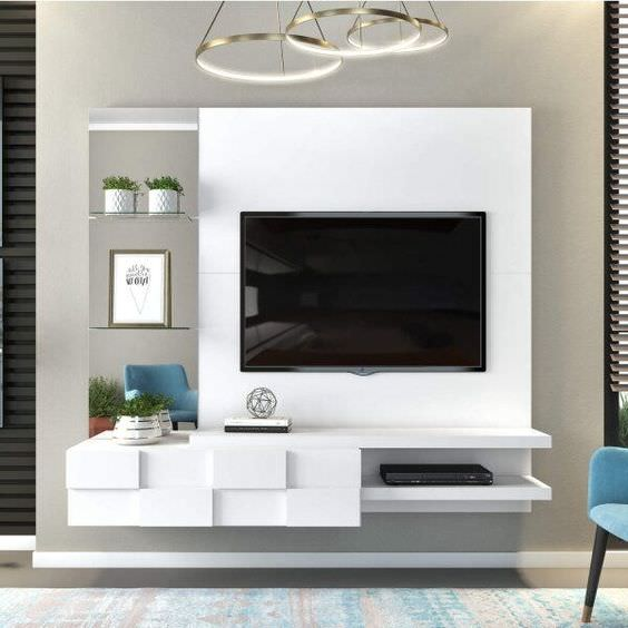 دکوراسیون دیوار پشت تلویزیون با کناف و میز تلویزیون کناف کاری شده