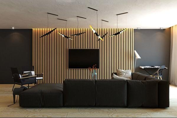 تزیین دیوار پشت تلویزیون با پنل چوبی عمودی