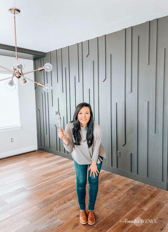 استفاده از چوب برای دیوار پذیرایی مدرن
