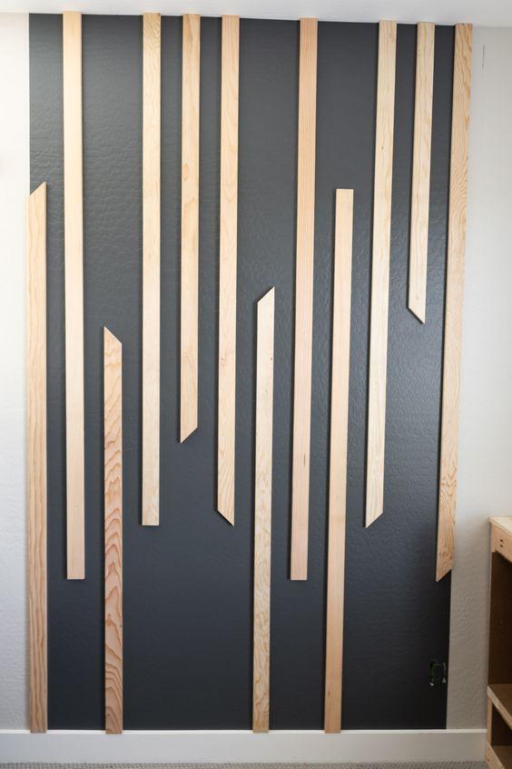 دیزاین دیوار پذیرایی با چوب