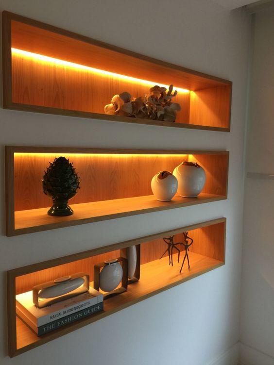 قفسه تو کار در دیوار پذیرایی مدرن