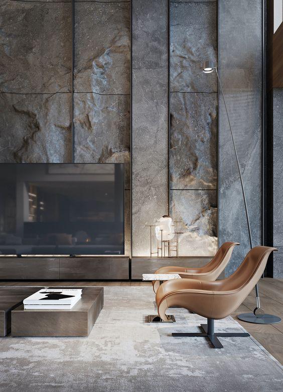 استفاده از سنگ برای دیزاین دیوار مدرن