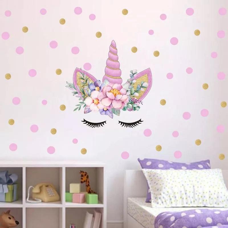 تزیین دیوار اتاق کودک با استیکر طرح اسب تک شاخ