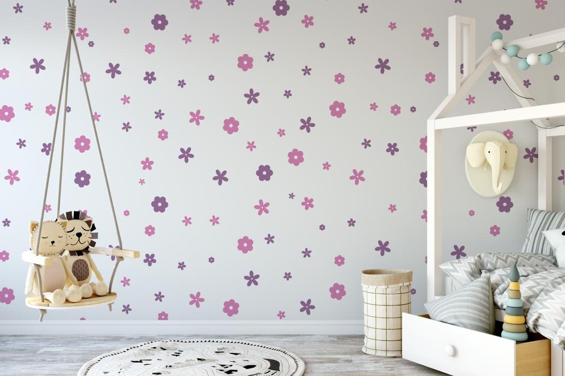 تزیین دیوار اتاق کودک با استیکرهای طرح گل های بنفش