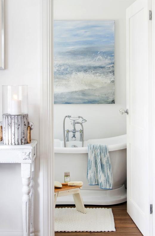 تزیین دیوار حمام و دستشویی با تابلو موضوع دریا