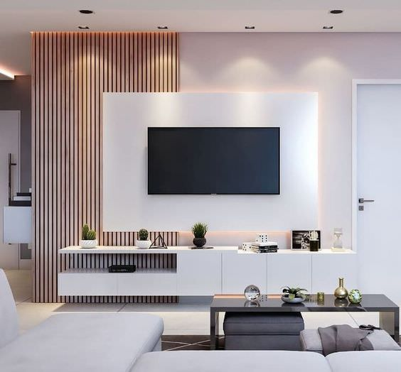 دکور پشت تلویزیون با کناف و دیوارپوش چوبی مدرن
