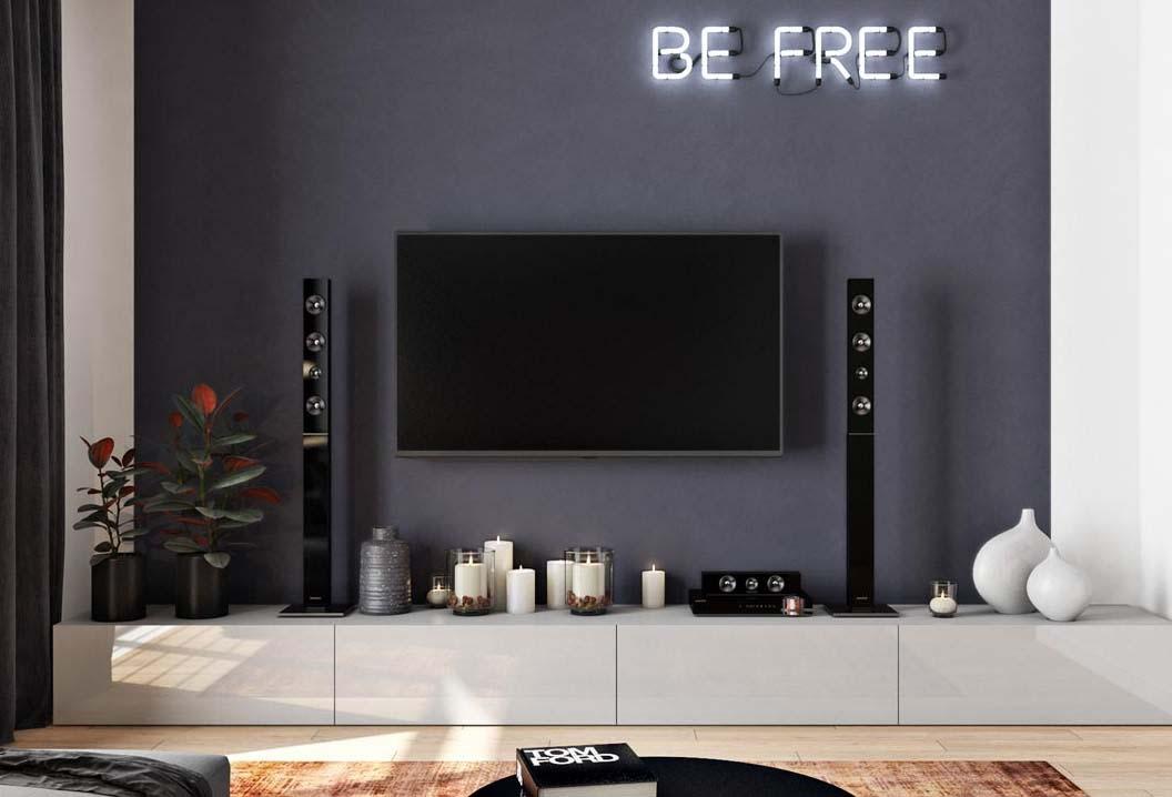 دکور پشت تلویزیون با رنگ طوسی و ایجاد دیوار تاکیدی