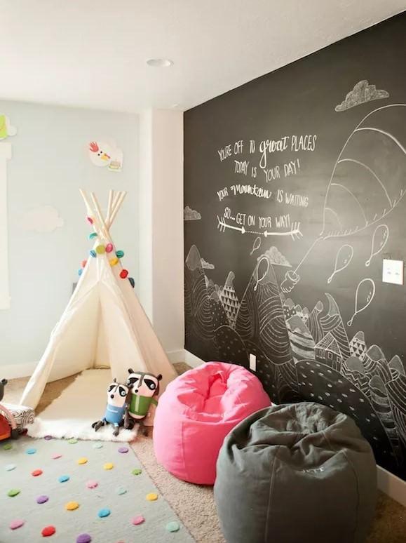 تزیین دیوار اتاق کودک با رنگ تخته سیاه