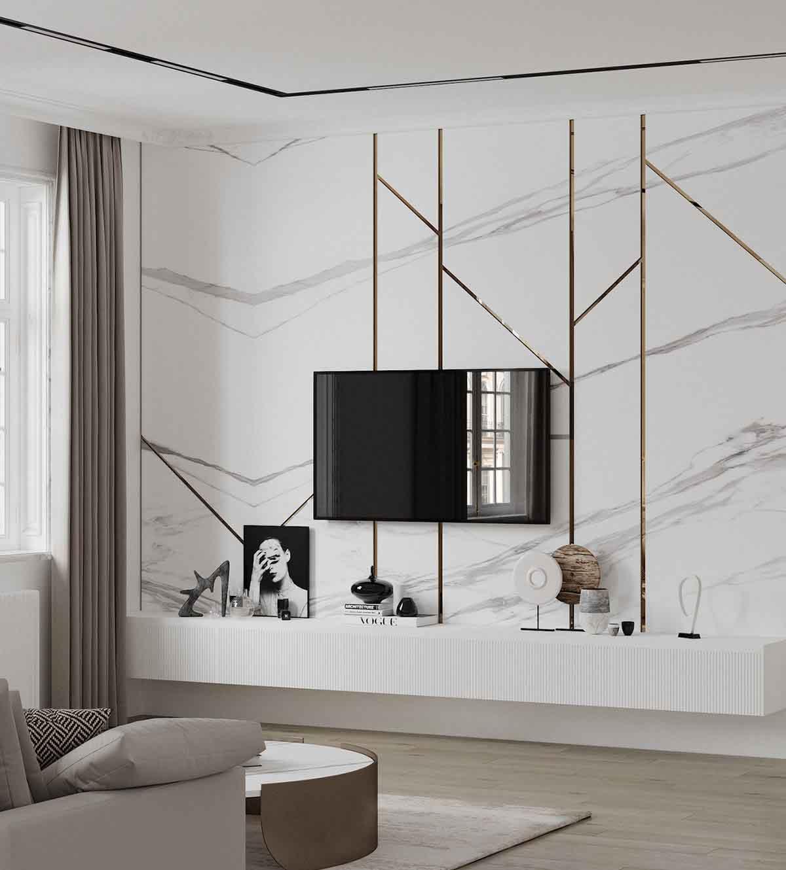 دکور پشت تلویزیون با دیوارپوش طرح سنگ مرمر سفید