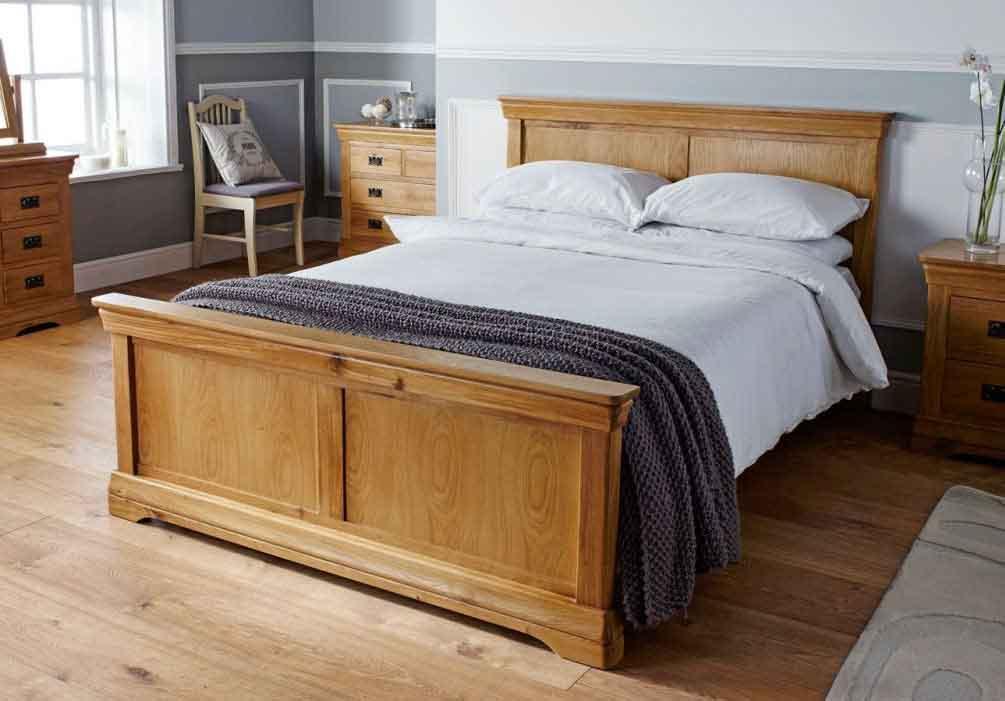 تخت خواب با فریم و تاج چوب بلوط