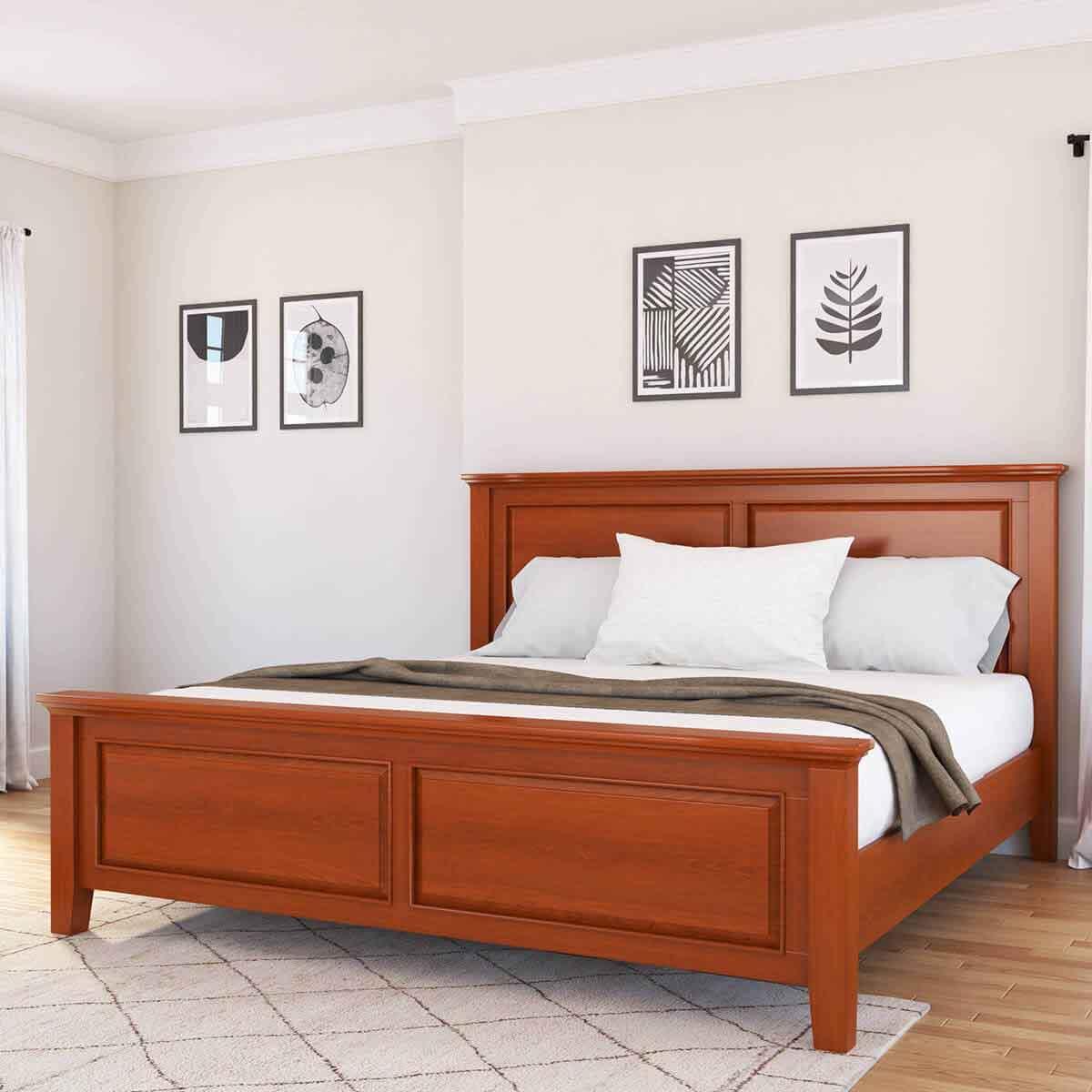 تخت خواب چوبی ساخته شده از چوب ماهون