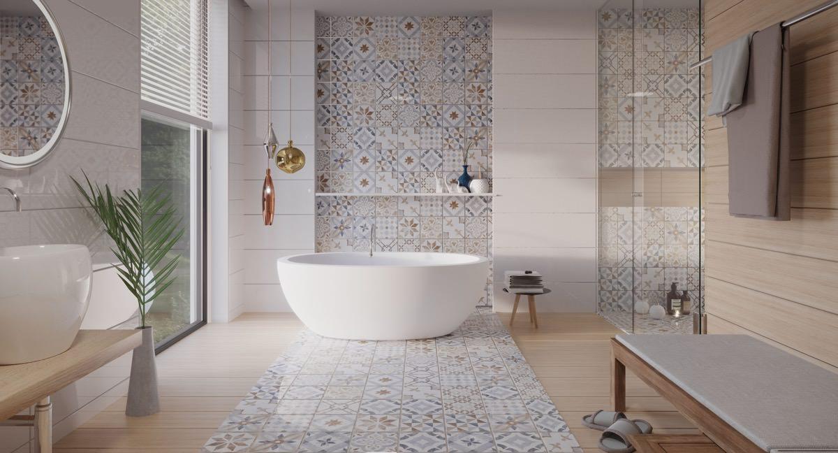 تزیین دیوار حمام و دستشویی با ایجاد دیوار تاکیدی با کاشی های متفاوت
