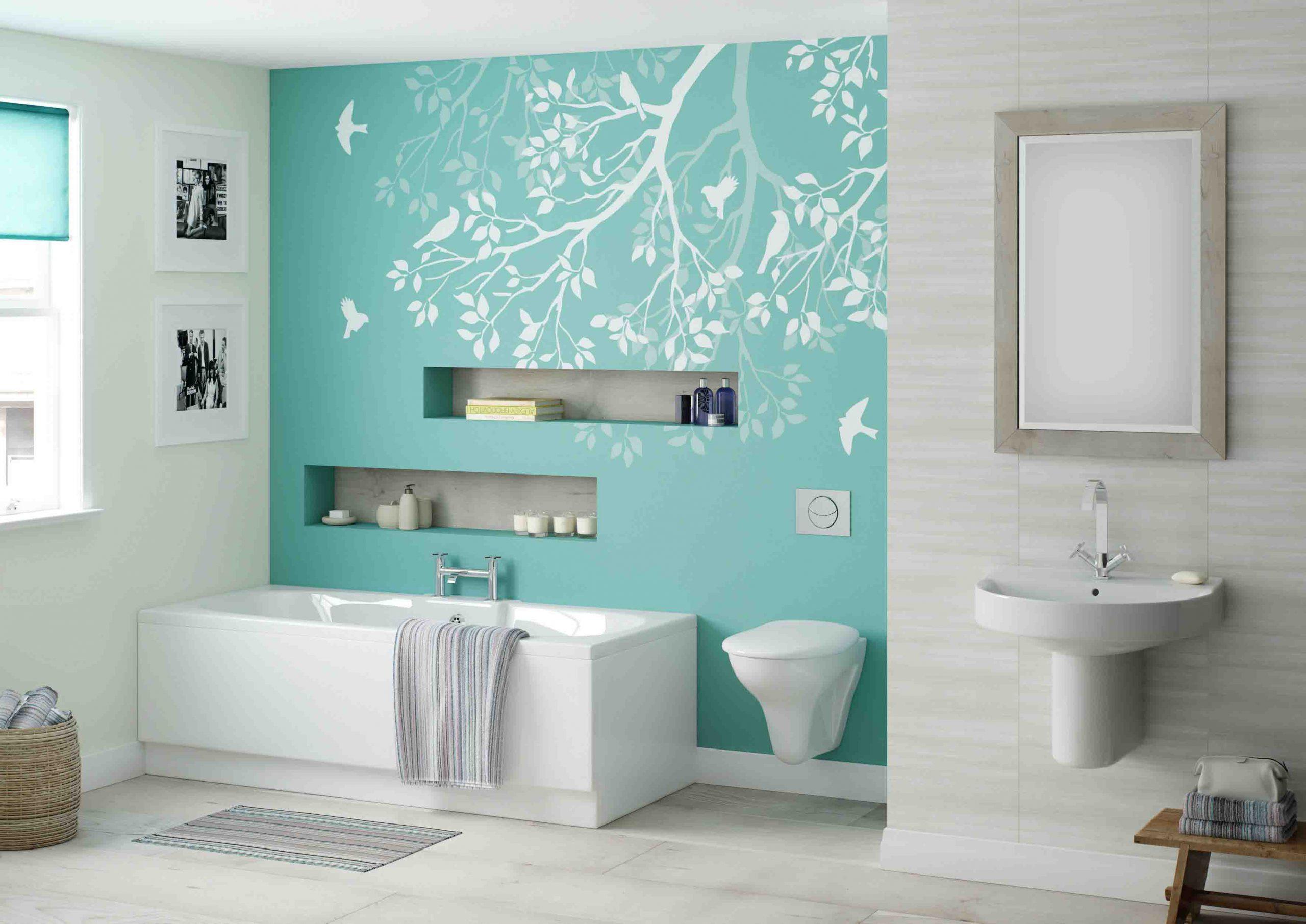 تزیین دیوار حمام و دستشویی با ایجاد دیوار تاکیدی با پوستر دیواری