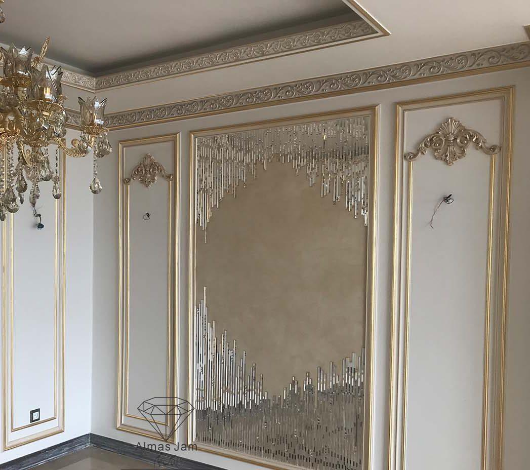 آینه کاری سنتی دیوار پذیرایی