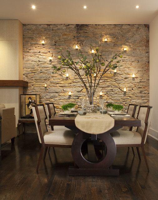 تزیین دیوار ناهار خوری با سنگ آنتیک