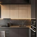 کابینت مدرن با رنگ خاکستری و چوبی