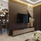 طراحی دیوار پشت تلویزیون با سرامیک